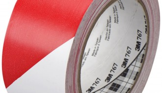 3M RED AND WHITE VINYL FLOOR MARKING TAPE (50mm x 33m x 0.13mm)