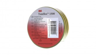 3M Temflex™ Green/Yellow PVC Electrical Insulation Tape 1500